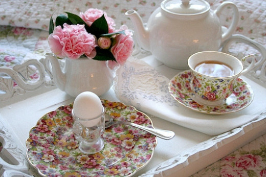Shabby Chic Romantic Breakfast In Bed
