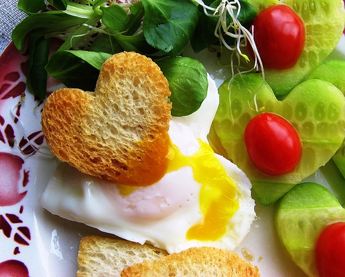 Heart Shaped Toast and Egg Romantic Breakfast