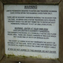 Kaumana Caves Private Property Warning Sign Posted at Entrance