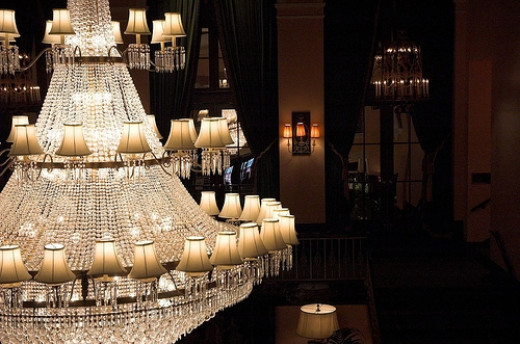 Ornate chandeliers from the Amway Grand Plaza Building.
