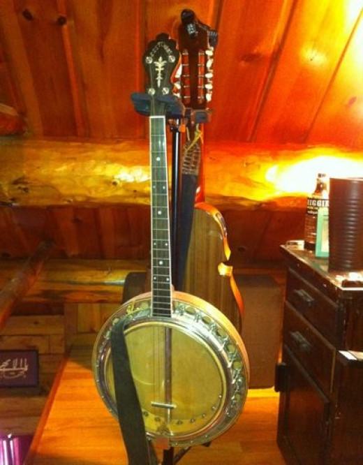 "My grandfather's banjo with the ""Sunshine Serenaders."" Refurbished."
