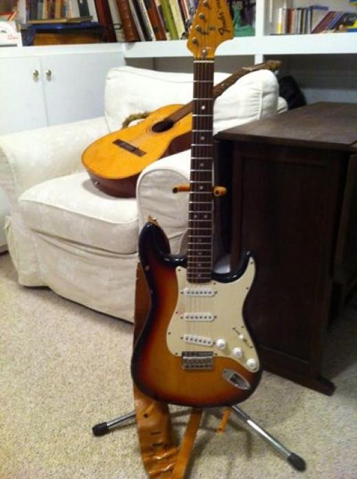 My husband's guitars.