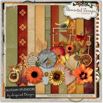 Look at this beautiful fall themed kit named AUTUMN SPLENDOR. This scrapping kit is packed full of the bright colors of Fall. The ravishing reds, the yummy yellows, the omnipitant oranges. This kit is just perfect for scrapping all of your autumn the