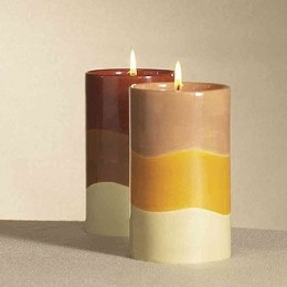 Welcome the fall season and give your room the d�cor of autumn foliage. These Autumn Candle Holders already includes small pillars that can be placed inside the candleholder, and can be re-used. Comes in a set of two.