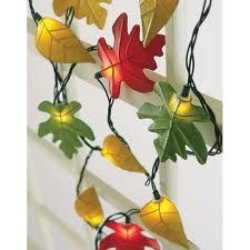 Create a festive autumn mood with leaves lighting.From www.porterhousedesigns.com