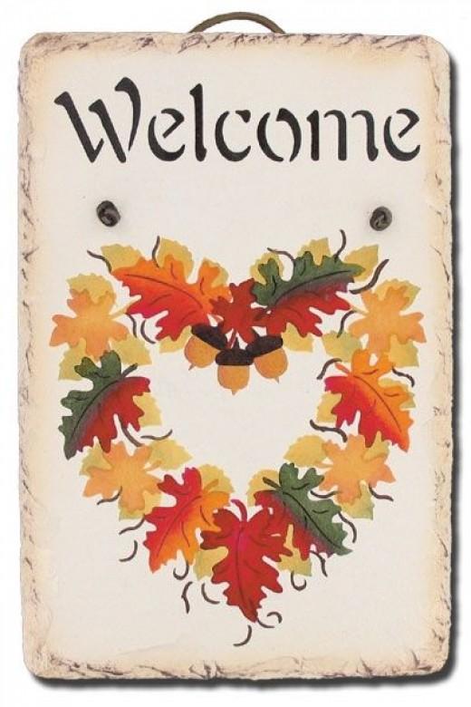 Charming autumn slate.  Wonderful idea for a hostess gift!