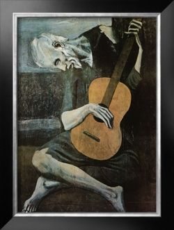 Picasso Blue Guitarist Artwork for Blue Home Decorating Accents