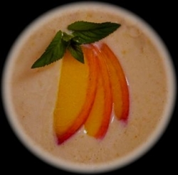 Garnished and ready to serve cold peach soup. © 2011-15 CJS. All rights reserved.