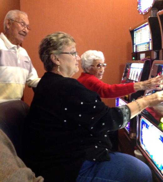 Mr. Herrera watching his daughter and wife win big money at Chumash Casino.