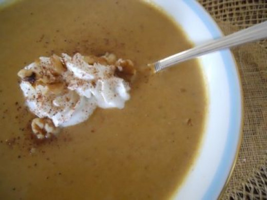 Spoon Some Up.   Smell the delicious fragrance of Walnut Pumpkin Soup.