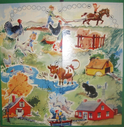 "A ""Fun on the Farm"" game board that is so beautiful with farm animals, barn, farmer. Display this on the wall, as is. Photo Credit:  Peggy Hazelwood"