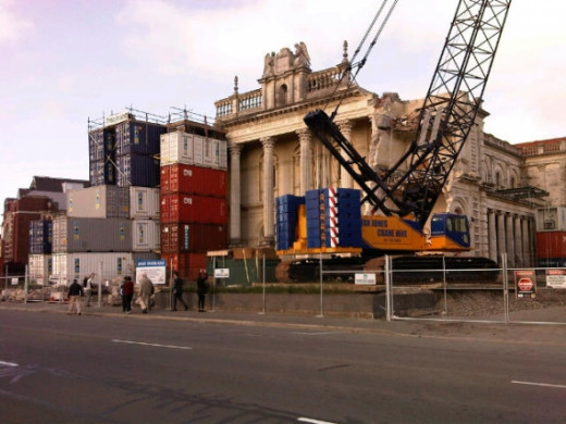 The Catholic Cathedral coming down.