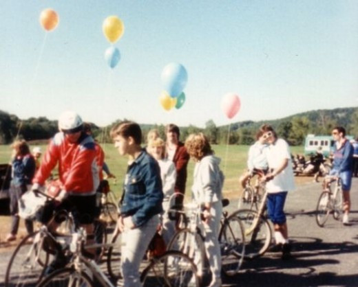 Kamp for Kids Bike-a-thon (that's me with a perm; back to camera)