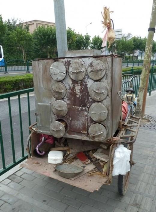 Chinese sweet potato vendors cart