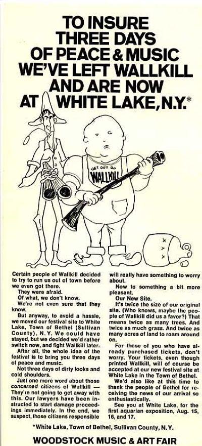 Woodstock trivia, Woodstock flier,Woodstock Memorabilia