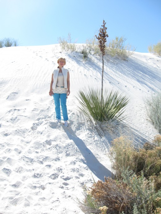 My wife among the dunes.  White Sands National Monument, New Mexico