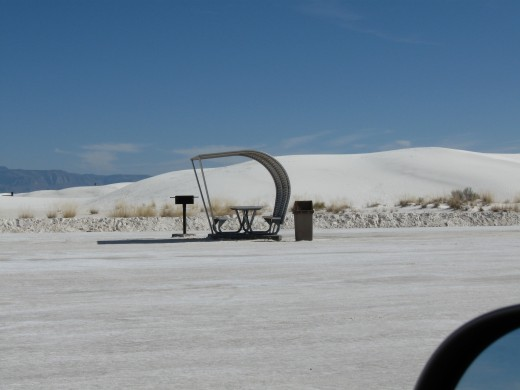 Ramada with picnic table in White Sands National Monument, New Mexico