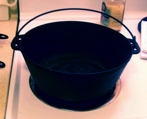 Get your pot that you plan to make your Chicken and Dumplings in. I decided on my husband's cast iron pot because it had a lid that would be tight. Big mistake as the chicken and sauce burned to the bottom of the pot. Thank goodness it didn't make th