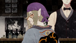 Kusuriuri (the Medicine Seller) at a bar in the Bakeneko arc arc