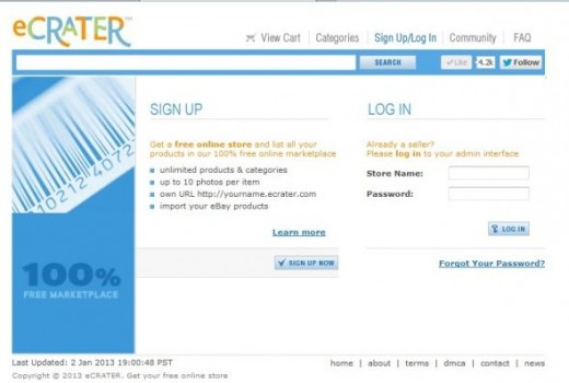Signing Up for eCrater Store