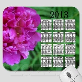 Single Peony Calendar Mousepad