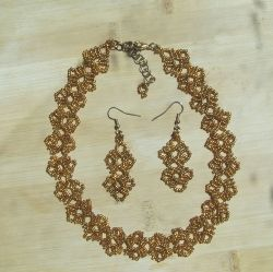 Gold Round Lace Jewelry Set