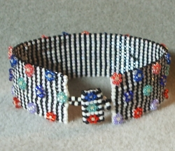 Pin Stripes and Flowers Cuff Bracelet