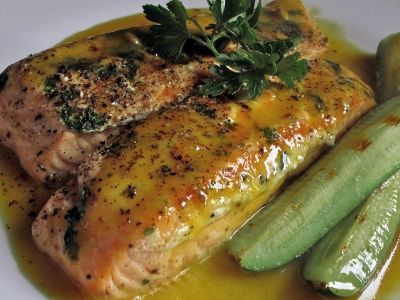 Perfectly prepared salmon fillet
