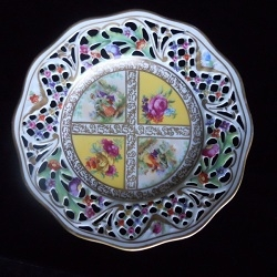 Looking down on a Royal Dresdner pedestal plate.