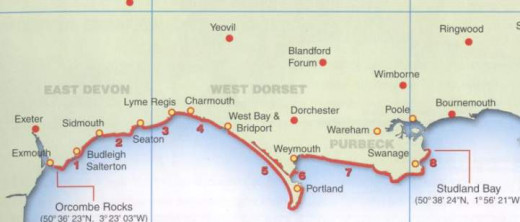 Jurassic Coast Map
