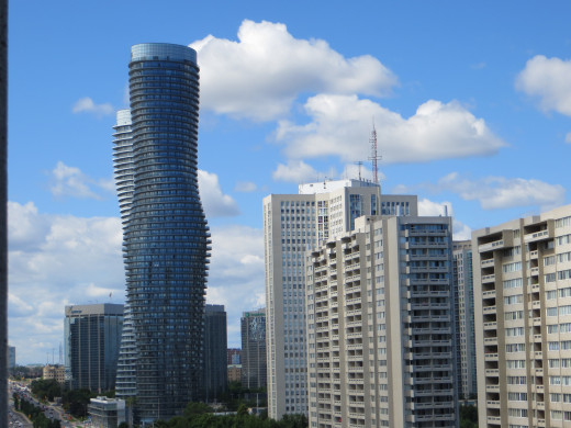Absolute Towers, in the morning, in Mississauga, Ontario (also known as the Marilyn Monroe Towers)