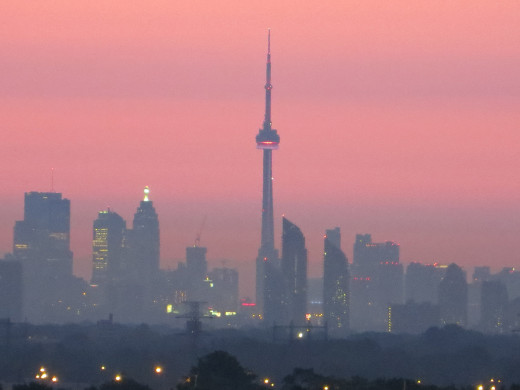 Toronto Skyline at Dusk (using zoom feature from 25 kms away)