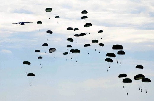 Parachuting in Fayetteville, North Carolina.