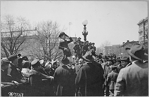 Giving a speech for the third US Liberty Loan, 1918