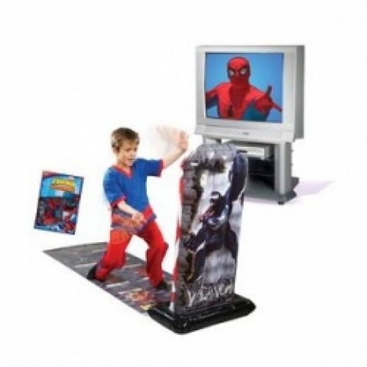 Spiderman punching bag connected to TV