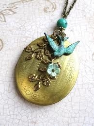 Victorian Photo Locket Vintage With Bird and flower