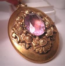 Victorian Photo Locket Vintage With Birth Gem