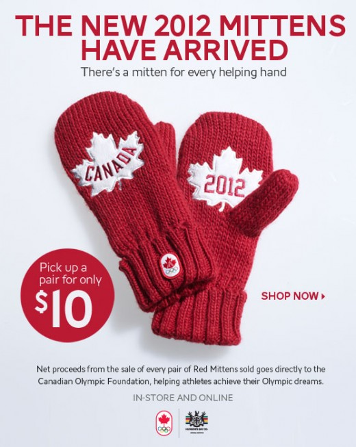 2012 Hudson's Bay Company Red Olympic Mittens