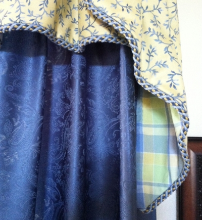 Cascade-Style Valance Using Plaid Fabric as Lining