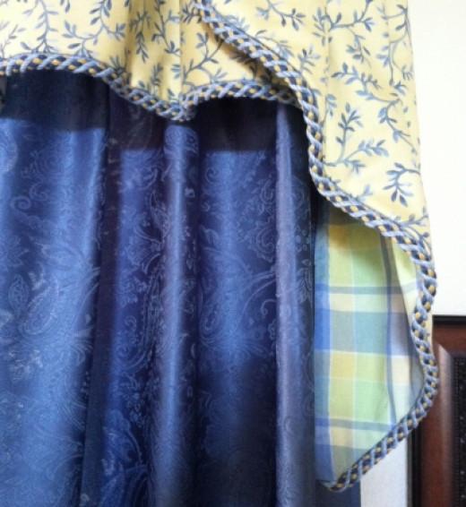 Cascade-Style Valance Using Plaid Fabric as Lining