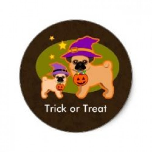 Halloween Pugs Stickers available at Zazzle.com