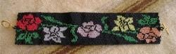 Filet Roses and Lilies Bracelet in 2 drop Peyote bead pattern