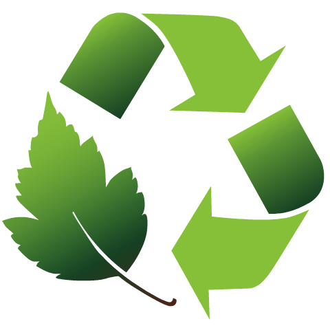 Earth Day clip art -- green recycle symbol with leaf