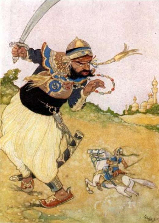 Rene Bull: illustration from Arabian nights Entertainment