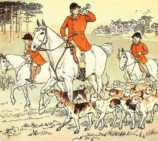 Scenes from hunting were among favorite Caldecott's illustrations