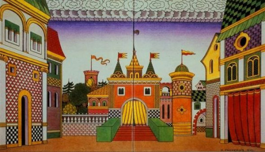 Stage setting of The Golden Cockerel by Ivan Bilibin