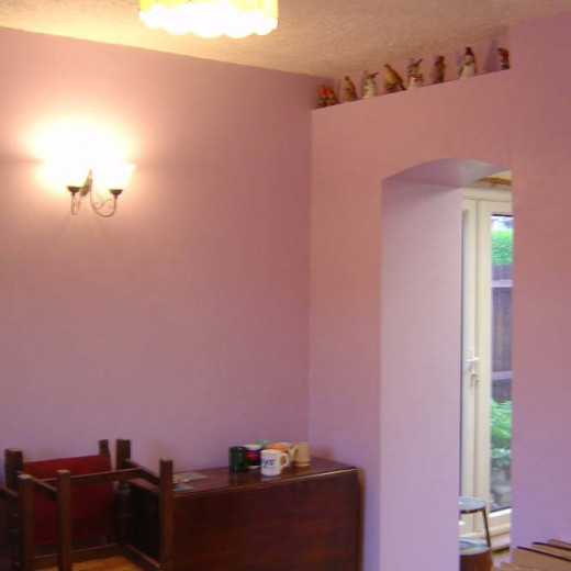 Dining room decorated after completion of larder