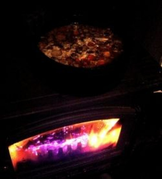 I cook my soup on a wood burning stove for Halloween ambiance