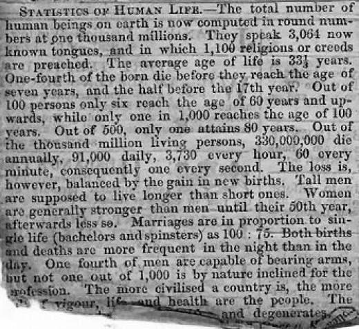 Statistics of Human Life and World Population published in a Victorian Newspaper