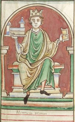 IHenry I, Miniature from illuminated Chronicle of Matthew Paris (1236-1259),